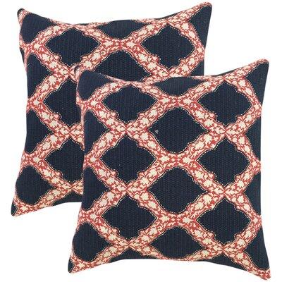 J Geometric Cotton Throw Pillow Color: Indigo