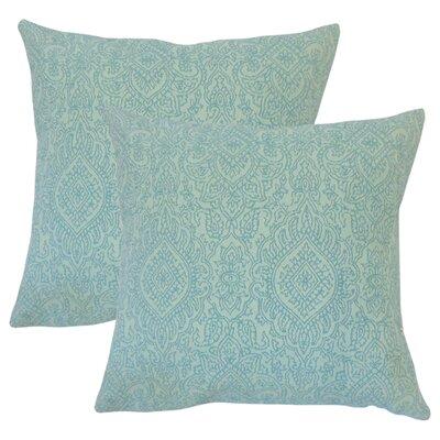 Amina Damask Cotton Throw Pillow Color: Turquoise