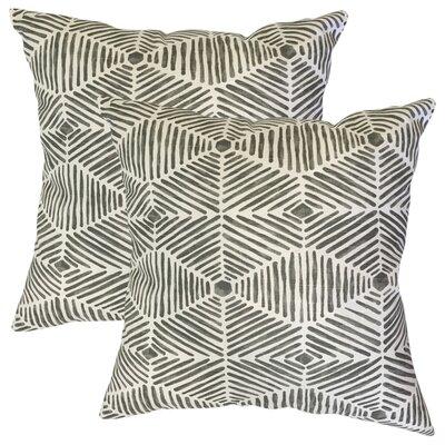 Tricia Geometric Cotton Throw Pillow Color: Gray