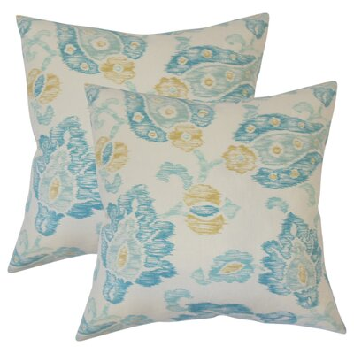 Cadena Floral Cotton Throw Pillow Color: Turquoise