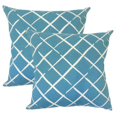 Frances Geometric Cotton Throw Pillow Color: Blue