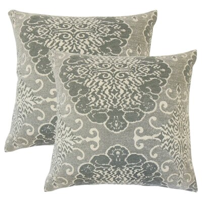 Arietta Damask Throw Pillow Color: Graystone