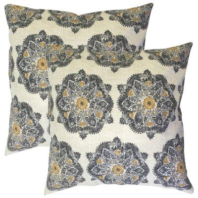Zyana Damask Cotton Throw Pillow Color: Gray
