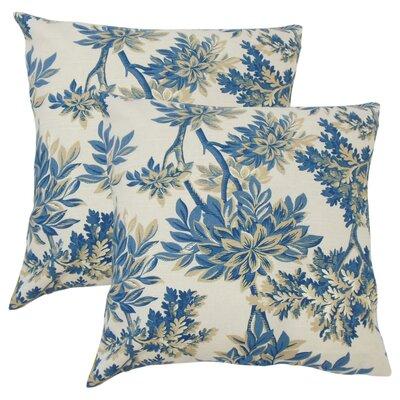 Lorriane Floral Cotton Throw Pillow Color: Blue