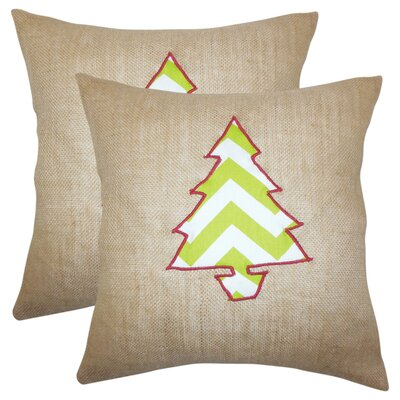 Christmas Tree Square Linen Throw Pillow