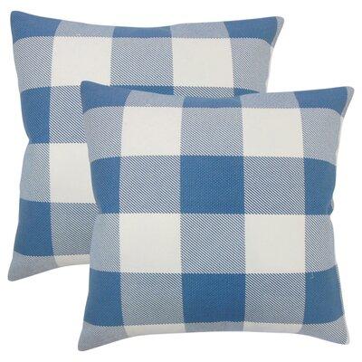 Pompa Plaid Cotton Throw Pillow Color: Blue