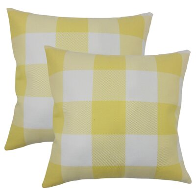 Pompa Plaid Cotton Throw Pillow Color: Yellow