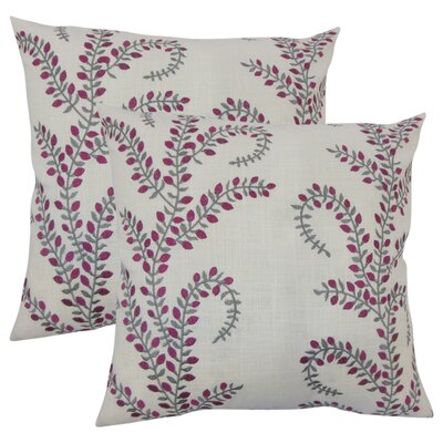 Bednarek Floral Linen Throw Pillow Color: Magenta