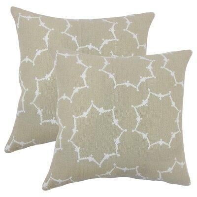 Zaizi Geometric Cotton Throw Pillow Color: Tan