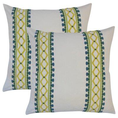 Barkbridge Geometric Cotton Throw Pillow Color: Green