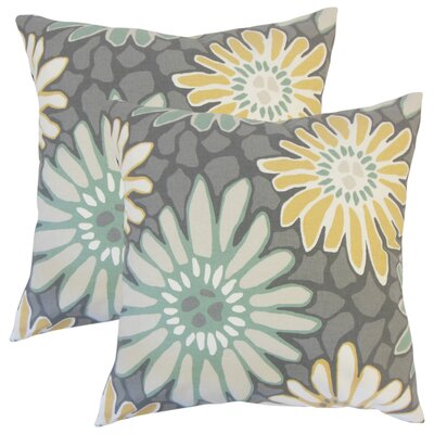 Strock Floral Cotton Throw Pillow Color: Gray