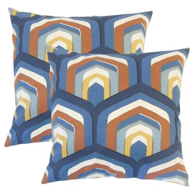 Taliyah Geometric Cotton Throw Pillow Color: Blue