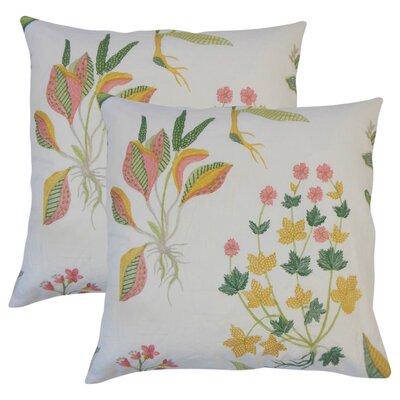 Ponton Floral Cotton Throw Pillow Color: Yellow