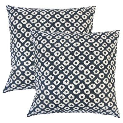 Younes Ikat Cotton Throw Pillow Color: Blue