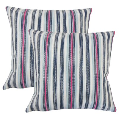 Iancarlo Striped Cotton Throw Pillow Color: Blue/Pink