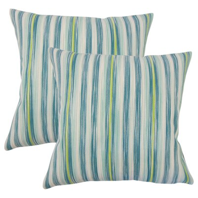 Iancarlo Striped Cotton Throw Pillow Color: Aqua Green