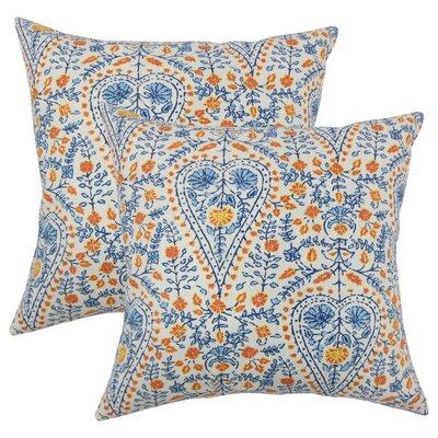 Willene Ikat Cotton Throw Pillow Color: Blue