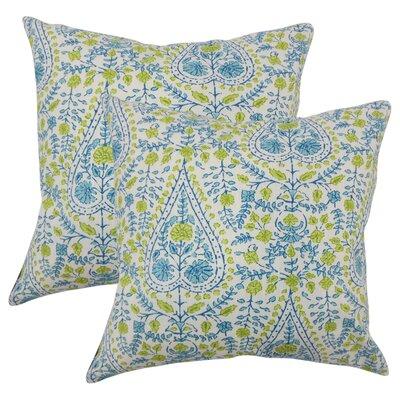 Willene Ikat Cotton Throw Pillow Color: Aqua Green