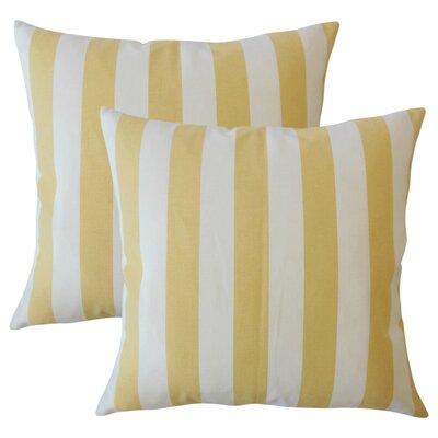 Grossman Striped Cotton Throw Pillow Color: Banana