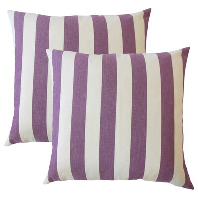 Grossman Striped Cotton Throw Pillow Color: Currant