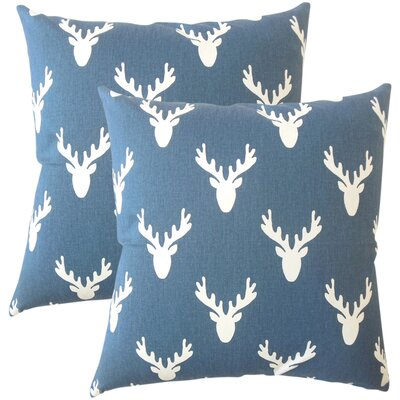 Balcones Graphic Cotton Throw Pillow Color: Navy