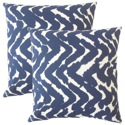 Rector Zigzag Cotton Throw Pillow Color: Indigo