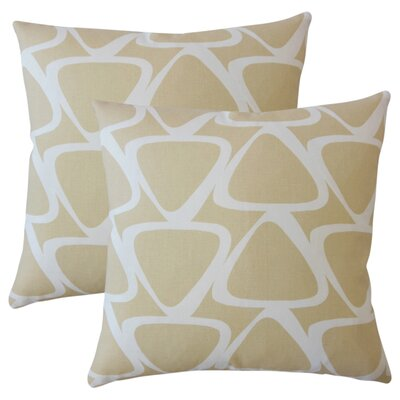 Cherish Geometric Cotton Throw Pillow Color: Tan