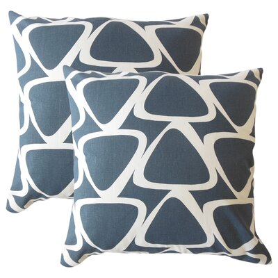 Cherish Geometric Cotton Throw Pillow Color: Blue
