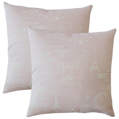 Banat Typography Cotton Throw Pillow Color: Pink