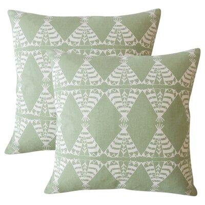 Roi Graphic Cotton Throw Pillow Color: Green