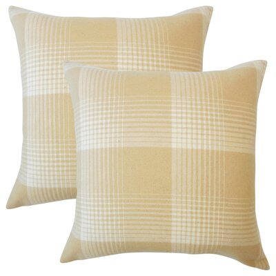 Gladding Plaid Cotton Throw Pillow Color: Honey