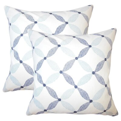 Peregrin Geometric Cotton Throw Pillow Color: Marine