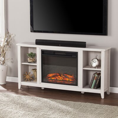 Cross 55.5 TV Stand with Electric Fireplace Color: White