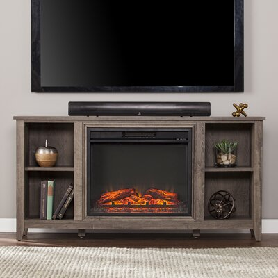 Cross 55.5 TV Stand with Electric Fireplace Color: Mocha Gray