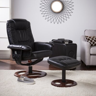 Grogg Manual Swivel Recliner with Ottoman Upholstery: Black