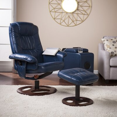 Grogg Manual Swivel Recliner with Ottoman Upholstery: Navy
