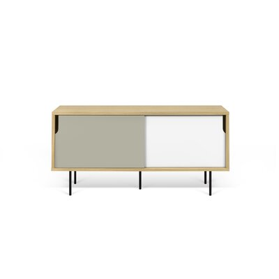 Dann 53 TV Stand Color: Oak/Pure White/Matte Grey/Lacquered Black Steel