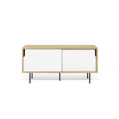 Dann 53 TV Stand Color: Oak / Pure White / Lacquered Black Steel