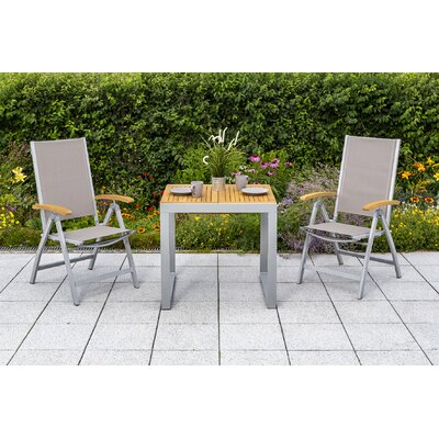 2-Sitzer Balkonset Fieldstone | Garten > Balkon > Balkon-Sets | Naturalbrownsilver | Metall - Rattan - Textil - Massivholz | Lynton Garden