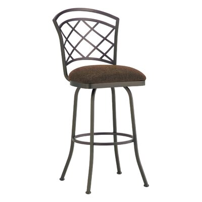 Baldwin 34 Swivel Bar Stool Frame Finish: Flintrock Gray, Upholstery: Victoria Dark Brown