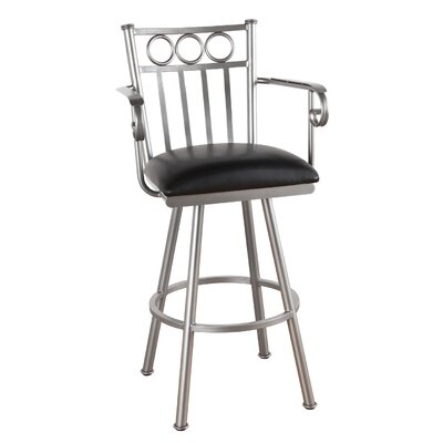 Washington 34 Swivel Bar Stool Frame Finish: Flintrock Gray, Upholstery: Victoria Dark Brown
