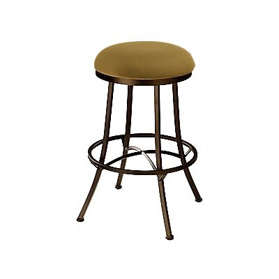 Charleston 26 inch Swivel Bar Stool Frame Finish: Flintrock Gray, Upholstery: Victoria Dark Brown
