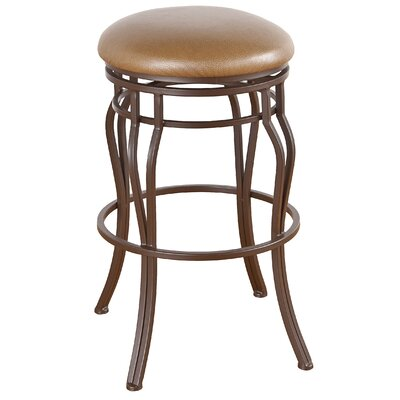 Hayward 34 Swivel Bar Stool Frame Finish: Matte Black, Upholstery: Victoria Dark Brown