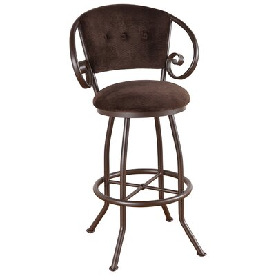 Walton 34 Swivel Bar Stool Frame Finish: Pebblestone, Upholstery: Victoria Dark Brown