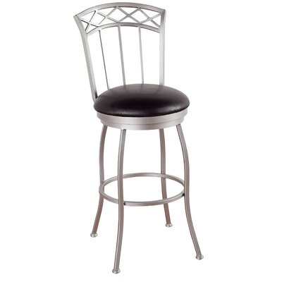 Portville 34 Swivel Bar Stool Frame Finish: Flintrock Gray, Upholstery: Victoria Dark Brown