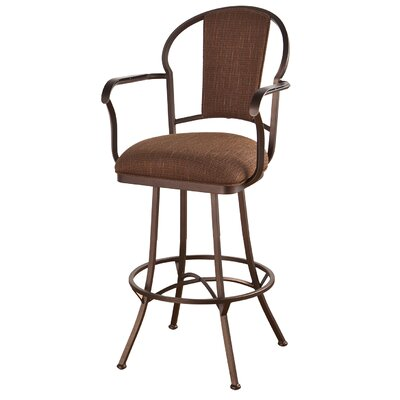 Charleston 34 Swivel Bar Stool Frame Finish: Matte Black, Upholstery: Bacova Barley