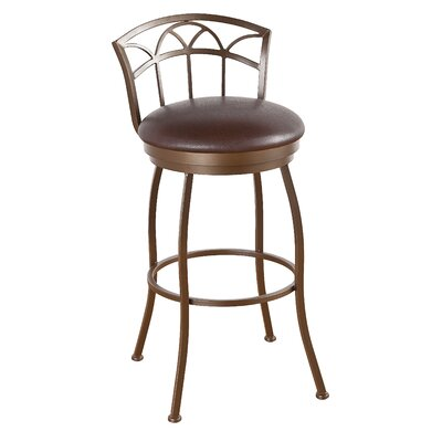 Fairview 26 Swivel Bar Stool Frame Finish: Flintrock Gray, Upholstery: Bacova Barley