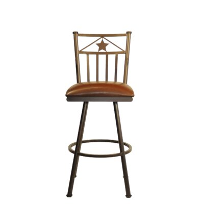 Lonestar 26 Swivel Bar Stool Frame Finish: Sun Bronze, Upholstery: Ford Red