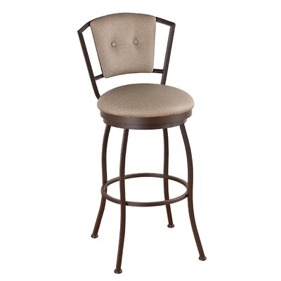Bristol 34 inch Swivel Bar Stool Frame Finish: Matte Black, Upholstery: Ford Dune