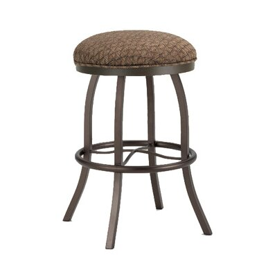 Americana 26 inch Swivel Bar Stool Frame Finish: Matte Black, Upholstery: Ford Brown